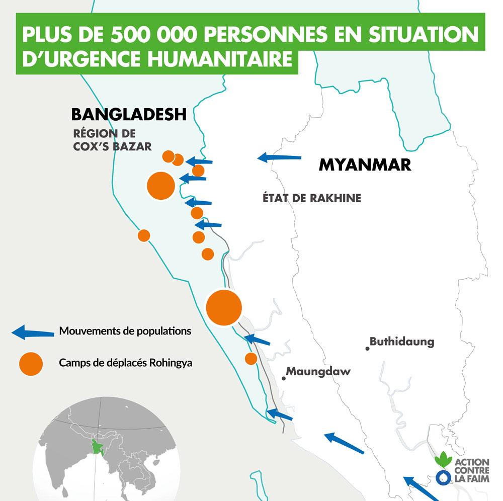 Birmanie Carte Regions.Carte Rohingya Bangladesh Myanmar Birmanie Aide Humanitaire Action